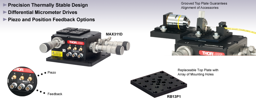 3-Axis NanoMax with Fixed Differential Adjusters