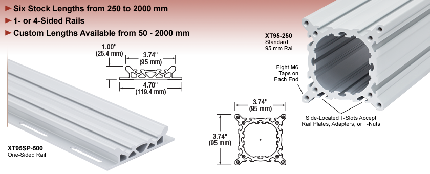 XT95 95 mm Optical Construction Rails