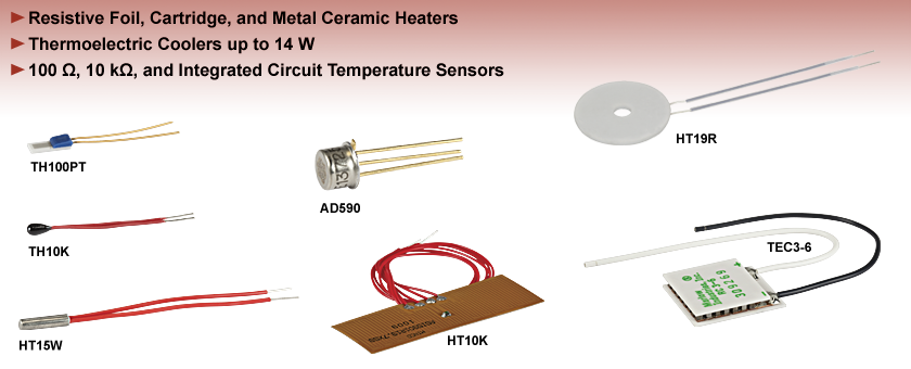 TEC Elements, Resistive Heaters, Thermistors, and Thermocouples