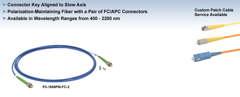 Polarization-Maintaining FC/APC Fiber Optic Patch Cables