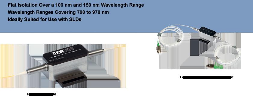 Fiber Isolators for Broadband SLDs