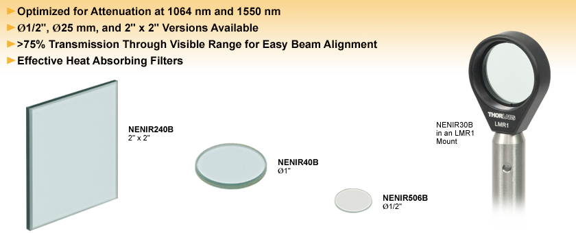 Unmounted NIR Absorptive ND Filters