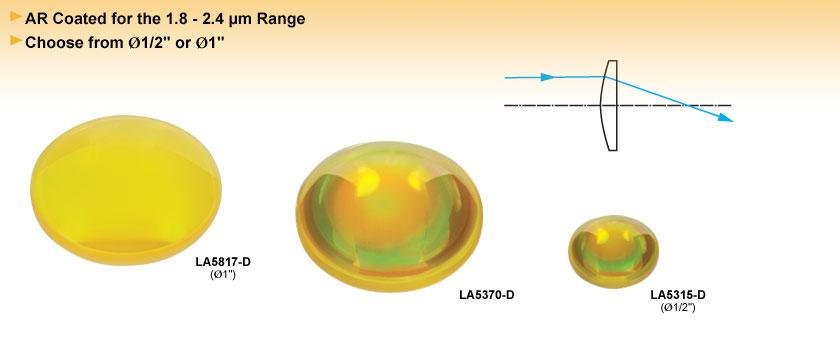 Calcium Fluoride Plano-Convex Lenses, AR Coated: 1.8 - 2.4 µm