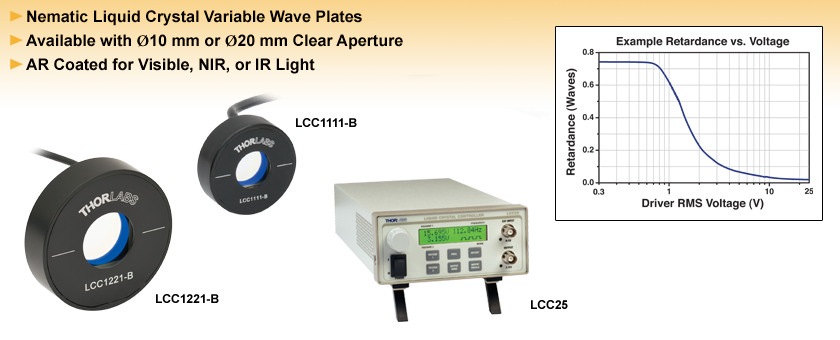 Half-Wave Liquid Crystal Variable Retarders/ Wave Plates