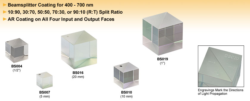 Non-Polarizing Cube Beamsplitters (400 - 700 nm)