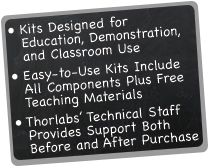Kits designed for education, demonstration, and classroom use. Easy-to-use kits include all components plus free teaching materials. Thorlabs' technical staff provides support both before and after purchase.