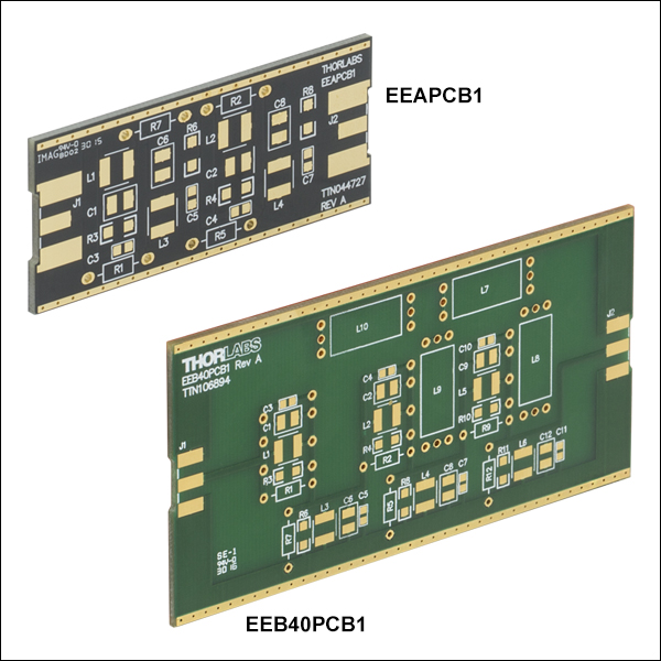 customizable printed circuit boardsthese blank printed circuit boards accept surface mount components for a custom passive electrical circuit the pcbs have either four (eeapcb1) or six
