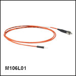 Ø200 µm Core, 0.50 NA, SMA to Ferrule Patch Cable with Ø2.5 mm Ferrules, PVC Jacket