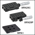 Single-Axis 25 mm Travel Stages and Adapter Plate