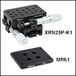Two-Axis 25 mm Travel Stage and Adapter Plate