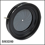 SM3-Threaded, Lever-Actuated Iris Diaphragm