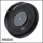 SM2-Threaded, Lever-Actuated Iris Diaphragm