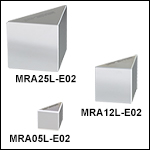 Leg-Coated Right-Angle Prism Mirrors, Dielectric Coating (400 nm - 750 nm)