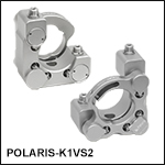 Polaris<sup>®</sup> Ø1in Kinematic Mirror Mount, 2 Vertical-Drive Adjusters, Monolithic Optic Retention