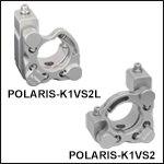 Polaris<sup>®</sup> Ø1in Kinematic Mirror Mounts, 2 Vertical-Drive Adjusters, Monolithic Optic Retention