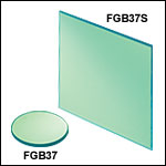 Unmounted Bandpass Colored Glass Filters: 335 - 610 nm
