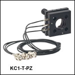 Ø1in Kinematic Mirror Mounts with Piezo Adjusters, ±73 µrad Piezo Adjustment