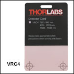 NIR Detector Card: 790 to 840 nm, 870 to 1070 nm, and 1500 to 1590 nm