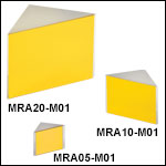 Right-Angle Prism Mirrors, Protected Gold Coating (800 nm - 20 µm)