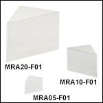 Right-Angle Prism Mirrors, UV-Enhanced Aluminum Coating (250 nm - 450 nm)