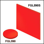 Unmounted 590 nm Longpass Colored Glass Filters