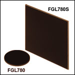 Unmounted 780 nm Longpass Colored Glass Filters