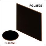 Unmounted 850 nm Longpass Colored Glass Filters