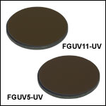 Unmounted Bandpass Colored Glass Filters, AR Coated: 290 - 370 nm