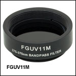 Mounted Bandpass Colored Glass Filter: 275 - 375 nm