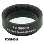 Mounted Bandpass Colored Glass Filter: 315 - 710 nm
