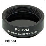 Mounted Bandpass Colored Glass Filter: 325 - 385 nm
