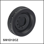 Threaded Graduated Ring-Actuated Zero Aperture Iris Diaphragm