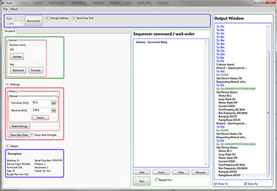 Screen Capture of the Elliptec Piezoelectric Resonant Motor Control Software GUI