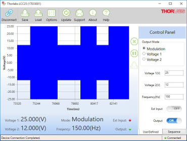 Screen Shot of the LCC25 Software