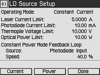Laser Diode Setup Screen