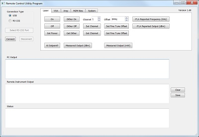 Screen Capture of the Remote Control Tool Software