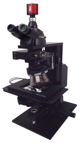 This microscope is equipped with a breadboard top for custom epi-illuminators and fixed arms that provide SM1, SM2, 30 mm cage, and 60 mm cage compatibility.<br />(See the <em>For Developers</em> tab for details.)