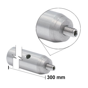 TR300/M - Ø12.7 mm x 300 mm Stainless Steel Optical Post, M4 Stud, M6-Tapped Hole