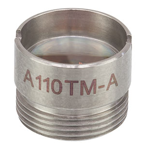 A110TM-A - f = 6.24 mm, NA = 0.40, Mounted Rochester Aspheric Lens, AR: 350 - 700 nm