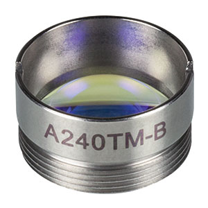 A240TM-B - f = 8.0 mm, NA = 0.5, Mounted Rochester Aspheric Lens, AR: 650 - 1050 nm