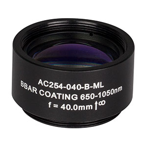 AC254-040-B-ML - f=40 mm, Ø1in Achromatic Doublet, SM1-Threaded Mount, ARC: 650-1050 nm