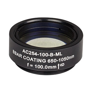 AC254-100-B-ML - f=100 mm, Ø1in Achromatic Doublet, SM1-Threaded Mount, ARC: 650-1050 nm