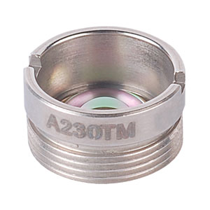 A230TM - f=4.51 mm, NA=0.55, Mounted Rochester Aspheric Lens, Uncoated