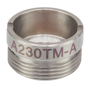 A230TM-A - f = 4.51 mm, NA = 0.55, Mounted Aspheric Lens, ARC: 350 - 700 nm
