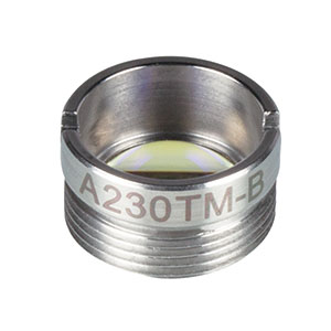 A230TM-B - f = 4.51 mm, NA = 0.55, Mounted Rochester Aspheric Lens, AR: 650 - 1050 nm