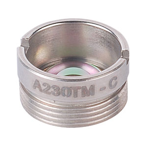 A230TM-C - f=4.51 mm, NA=0.54, Mounted Rochester Aspheric Lens, AR: 1050-1620 nm