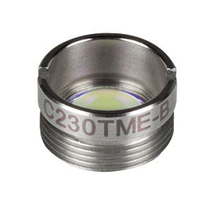 C230TME-B - f = 4.51 mm, NA = 0.55, Mounted Geltech Aspheric Lens, AR: 600-1050 nm