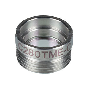 C280TME-C - f = 18.4 mm, NA = 0.15, Mounted Geltech Aspheric Lens, AR: 1050-1620 nm