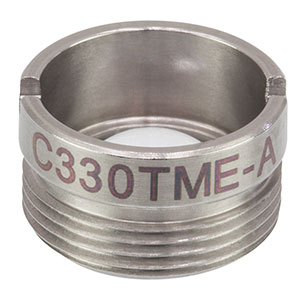 C330TME-A - f = 3.1 mm, NA = 0.68, Mounted Geltech Aspheric Lens, AR: 400-600 nm