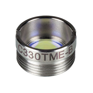 C330TME-B - f = 3.1 mm, NA = 0.68, Mounted Geltech Aspheric Lens, AR: 600-1050 nm